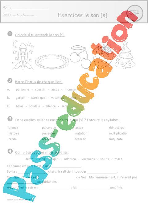 Exercices - Son s - s - ss - c - ç - t - x - Ce1 - Etude des sons - Pass Education