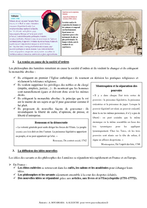 Europe des lumi res 4 me cours histoire pass education - Definition d histoire ...