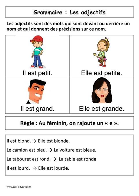 Les adjectifs - Affiche pour la classe - Cp - Grammaire ...