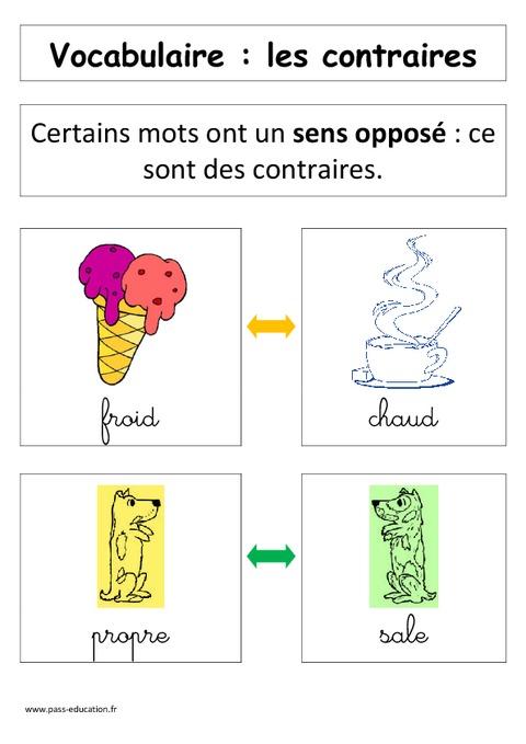 Les contraires- Affiche pour la classe - Cp - Vocabulaire ...