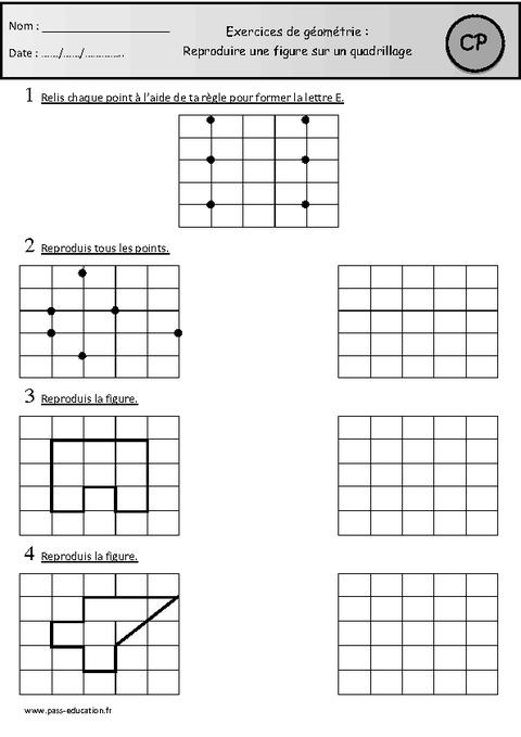 Exercices - Reproduire une figure sur un quadrillage - Cp - Cycle 2 - Pass Education