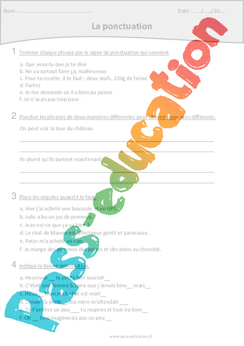 exercice de ponctuation avec correction pdf