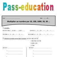 10 100 1000 20 30 Multiplier Un Nombre Cm1 Exercices A