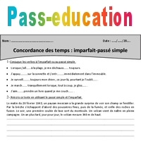 Concordance des temps - Imparfait - Passé simple - Exercices - Cm2 - Pass  Education 79fb8585a7