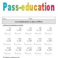 Multiplication 2 chiffres cm1 r visions imprimer pass education - Revision des tables de multiplication ...