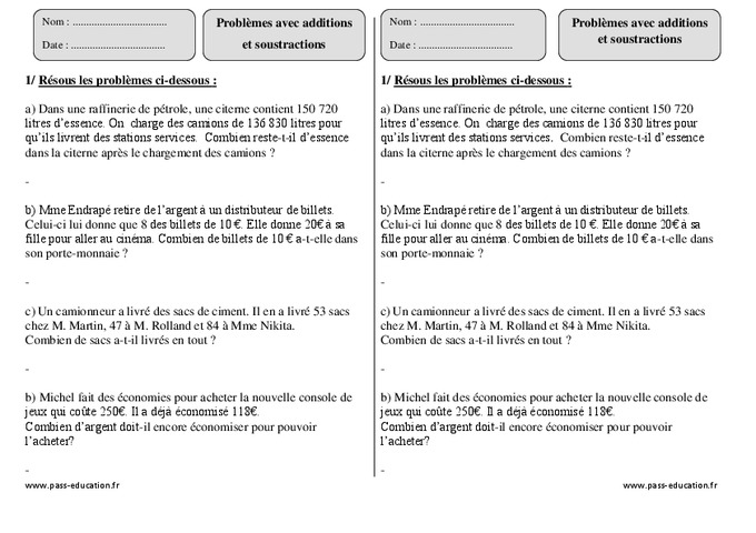 Additions soustractions ce2 probl mes imprimer pass education - Soustraction ce2 a imprimer ...