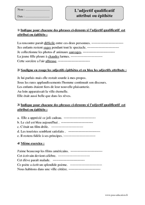 Adjectif qualificatif - Attribut - Epithète - Cm1 - Exercices à imprimer - Pass Education