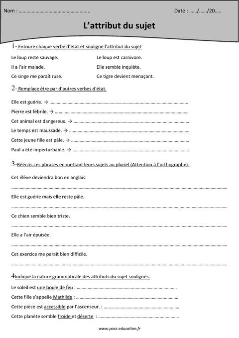 Attribut du sujet - Cm1 - Exercices corrigés - Pass Education