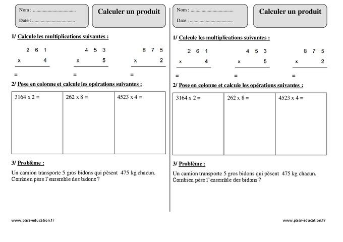 Calculer un produit ce2 exercice imprimer pass - Table de multiplication exercice ce2 ...
