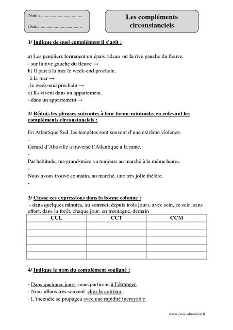 Compléments circonstanciels - Cm1 - Exercices à imprimer ...