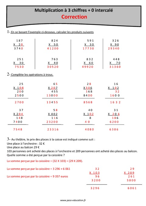0 intercal multiplication 3 chiffres cm1 for Exercice table de multiplication cm1
