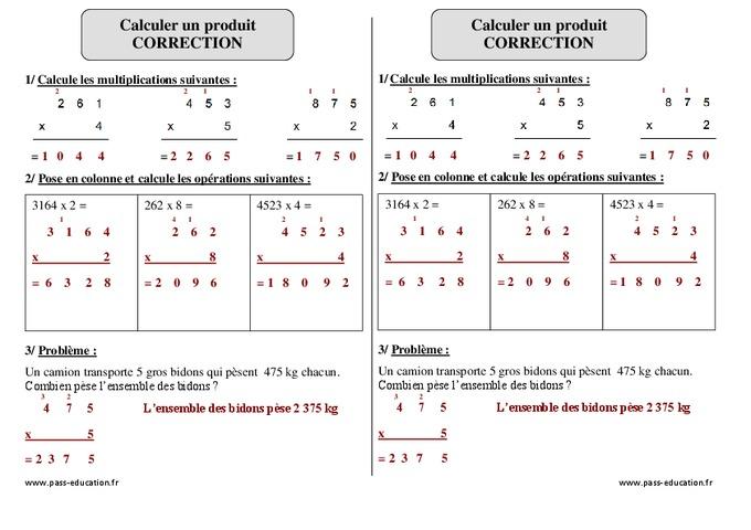 Calculer un produit ce2 exercice imprimer pass - Exercice tables de multiplication ce2 ...