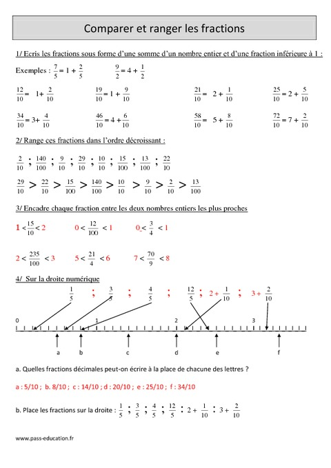 Comparer et ranger les fractions - Cm1 - Exercices avec ...