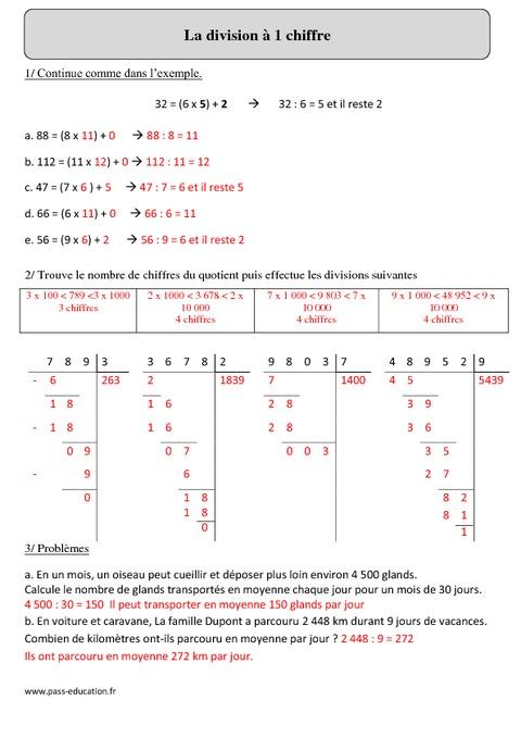 Division 1 chiffre cm2 exercices imprimer pass education - Division a imprimer ...