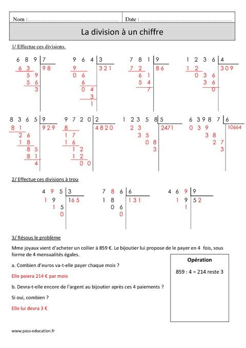 Division à 1 chiffre + sens - Cm1 - Exercices à imprimer - Pass Education