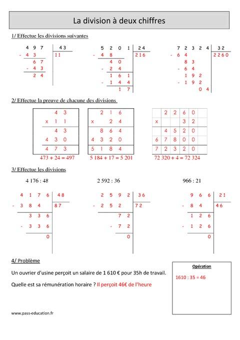 Division à 2 chiffres - Cm1 - Exercices avec correction ...