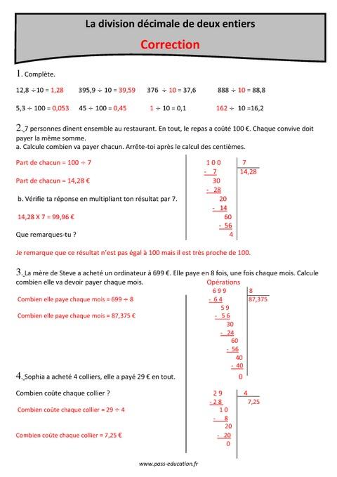 division d cimale de 2 entiers cm1 exercices avec correction pass education. Black Bedroom Furniture Sets. Home Design Ideas