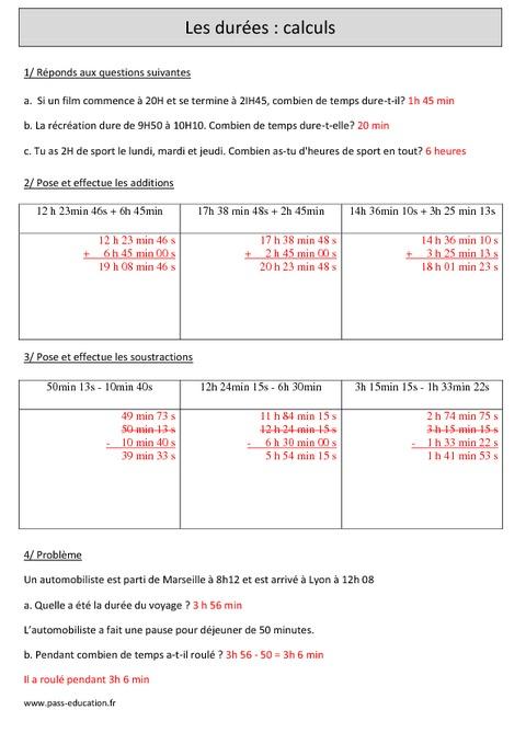 Durées - Calcul - Cm1 - Exercices avec correction - Pass ...