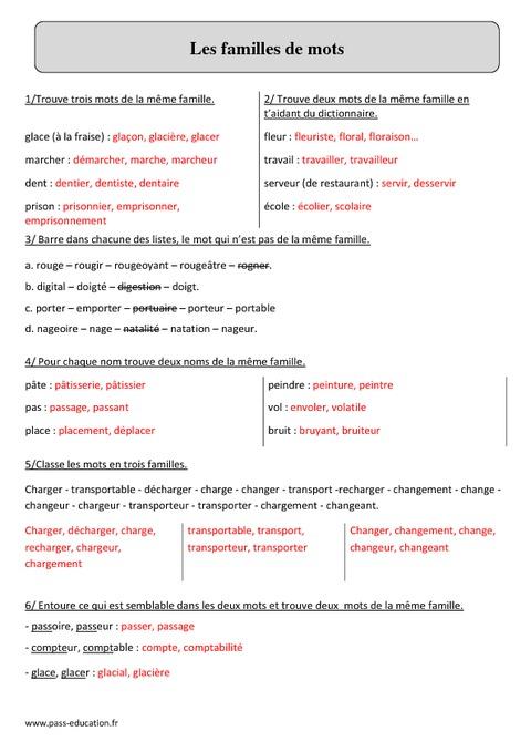 Familles de mots - Cm2 - Fiche d'exercices avec correction ...