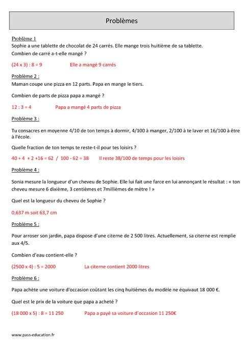Fractions - Problèmes - Cm1 - Révisions avec correction ...