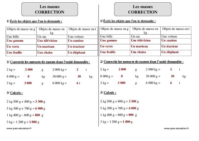 Masses g, kg - Ce2 - Exercices à imprimer - Pass Education