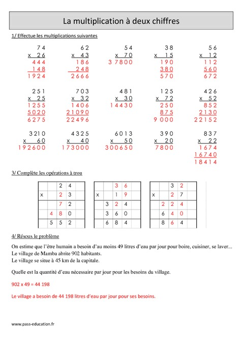 Multiplication 2 chiffres cm1 r visions imprimer for Les multiplications cm2