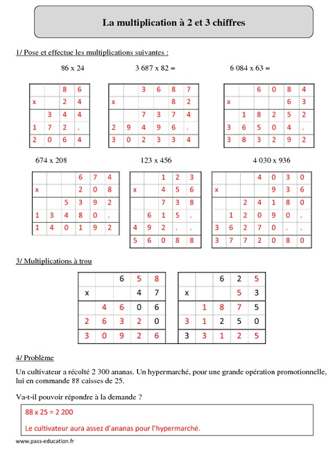 Multiplication 2 et 3 chiffres cm2 r visions for Revision table de multiplication