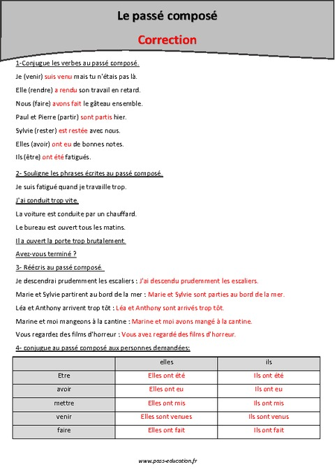 Pass compos cm2 exercices imprimer pass education - Conjugaison cm2 a imprimer ...