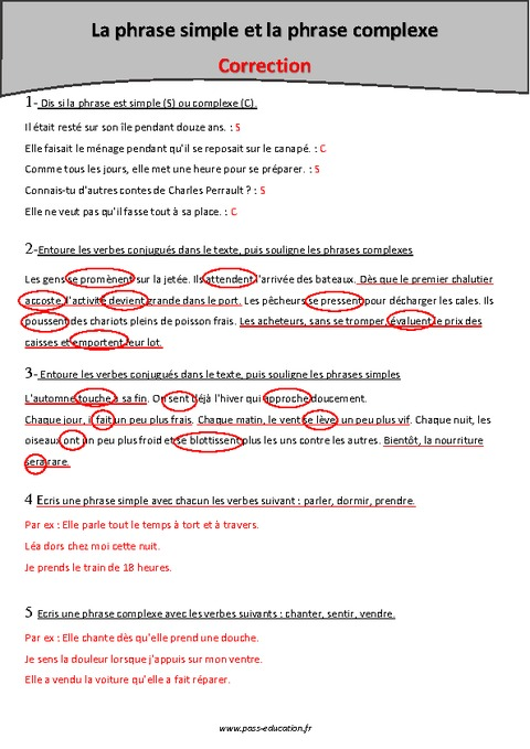 Phrase simple - Phrase complexe - Cm1 - Exercices à imprimer - Pass Education
