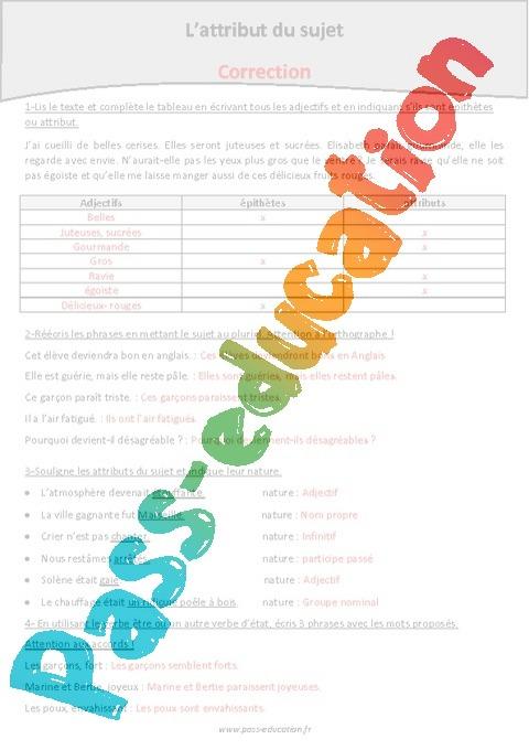 Attribut du sujet - Cm2 - Exercices - Grammaire - Pass ...