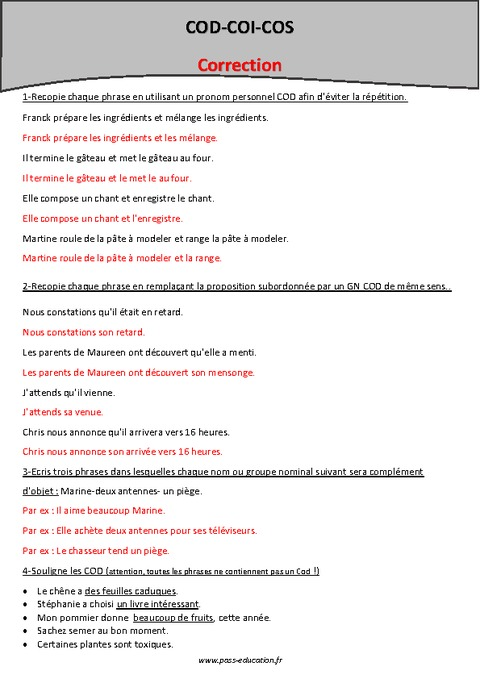 Révisions - COD - COI - COS - Cm2 - Grammaire - Pass Education