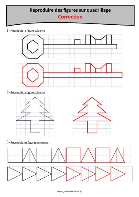 Reproduction de figures sur quadrillage - Cm1 - Exercices à imprimer - Pass Education