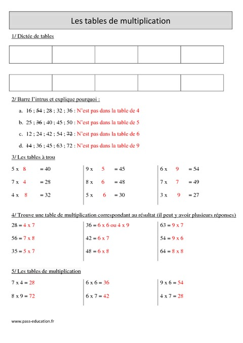 Tables de multiplication cm1 r visions imprimer - Exercice table de multiplication cm1 ...