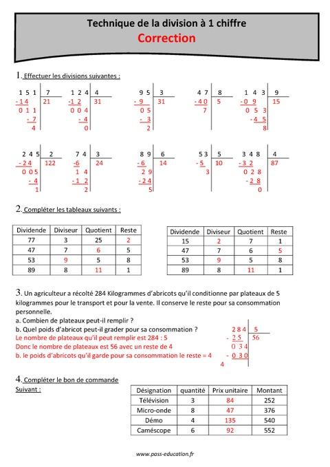 Technique de la division 1 chiffre cm1 exercices for Exercice multiplication cm1