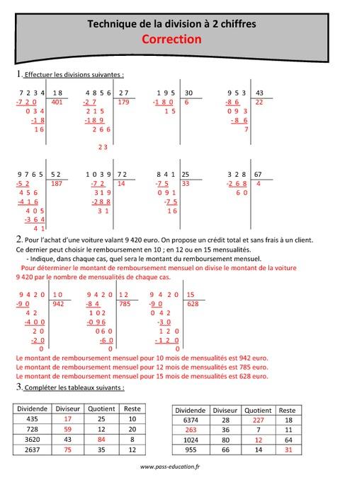Technique de la division 2 chiffres cm1 exercices imprimer pass education - Division a imprimer ...