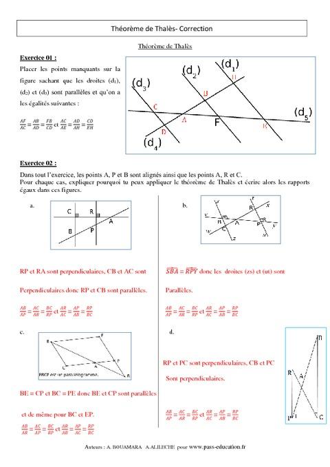 Théorème de Thalès - 3ème - Exercices - Brevet des ...