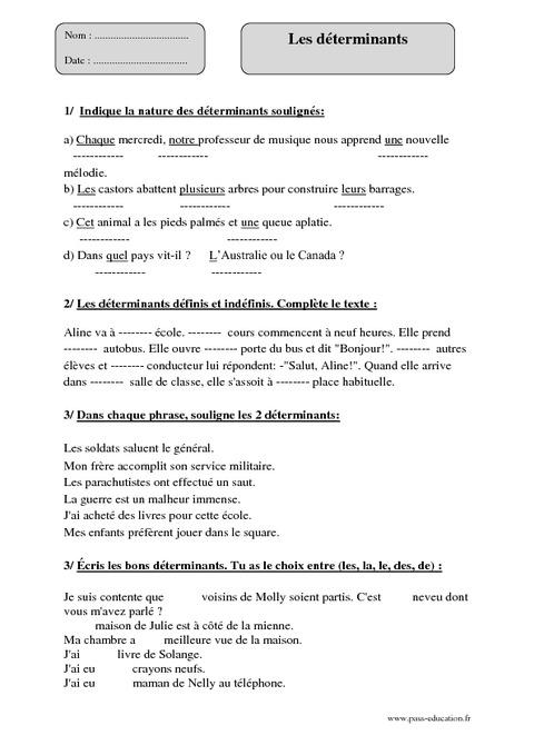 Déterminants - Cm1 - Exercices à imprimer - Pass Education