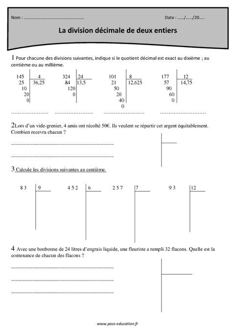 Division décimale de deux entiers - Cm1 - Exercices à imprimer - Pass Education