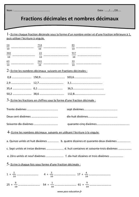Fractions décimales et nombres décimaux - Cm1 - Exercices à imprimer - Pass Education