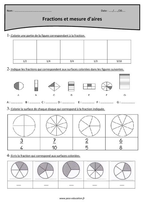 Fractions et mesure d'aires - Cm1 - Exercices corrigés ...