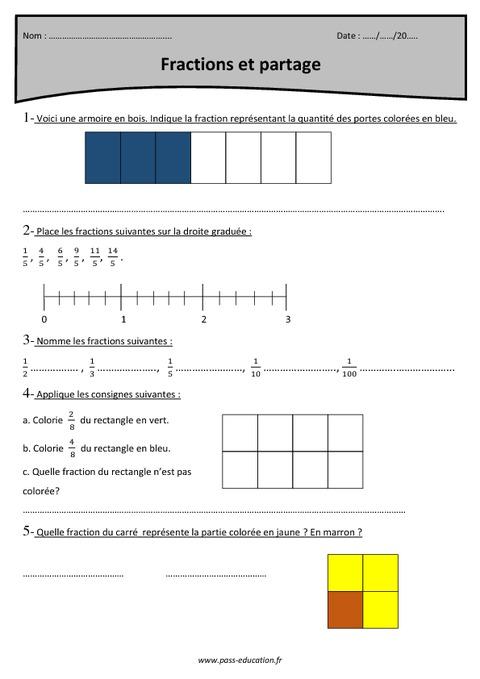 Fractions Et Partage Cm1 Exercices Corrig 233 S Pass