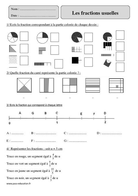 Num rateur d nominateur fractions usuelles cm2 exercices pass education - Les fractions cm1 exercices a imprimer ...