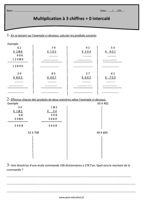Multiplication 3 chiffres 0 intercal cm1 for Exercice multiplication cm1