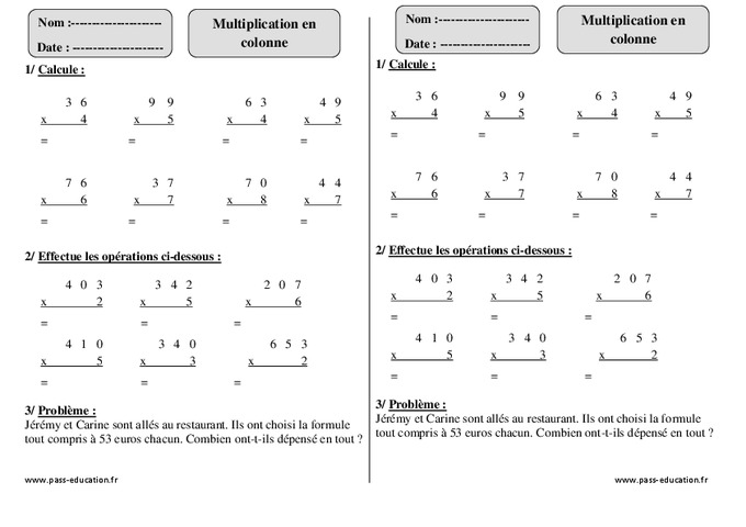 Multiplication en colonne ce1 exercices avec correction pass education - Exercices tables multiplication ...