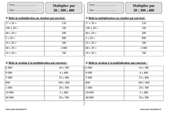 Multiplier par 20 300 400 ce2 exercices imprimer for Exercice multiplication ce2