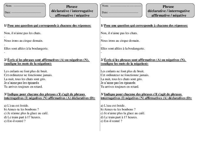 Phrase déclarative - Interrogative - Affirmative - Négative - Ce1 - Exercices - Pass Education