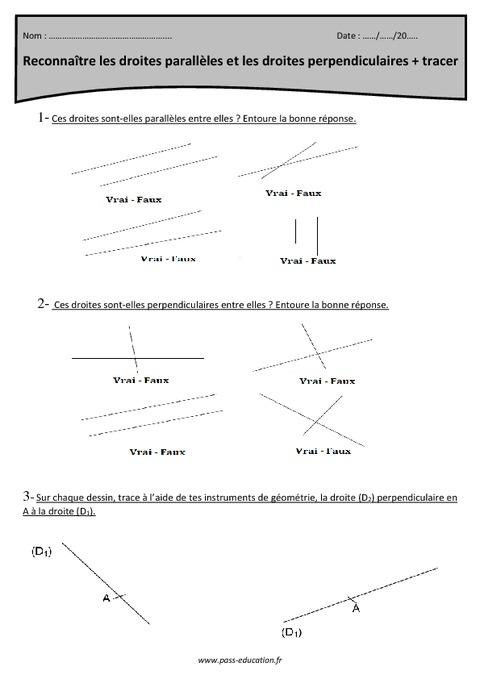 Reconnaître les droites parallèles et les droites perpendiculaires - Tracer - Cm1 - Exercices ...