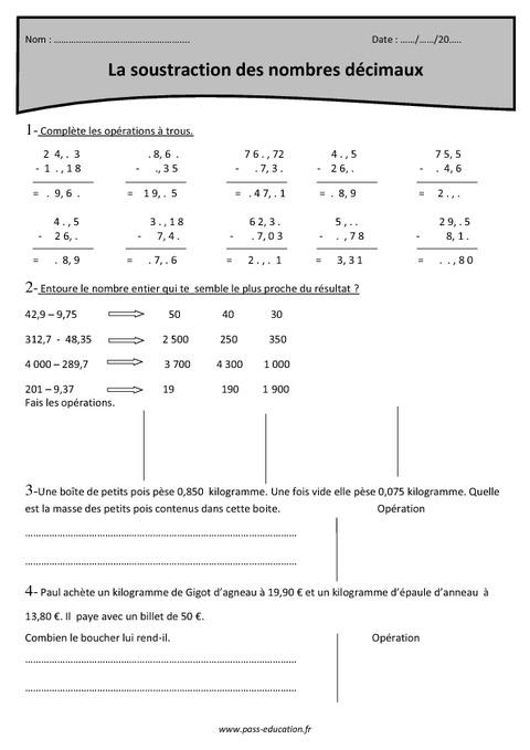 Soustraction avec retenue nombres d cimaux cm1 r visions pass education - Soustraction avec retenue cm1 ...