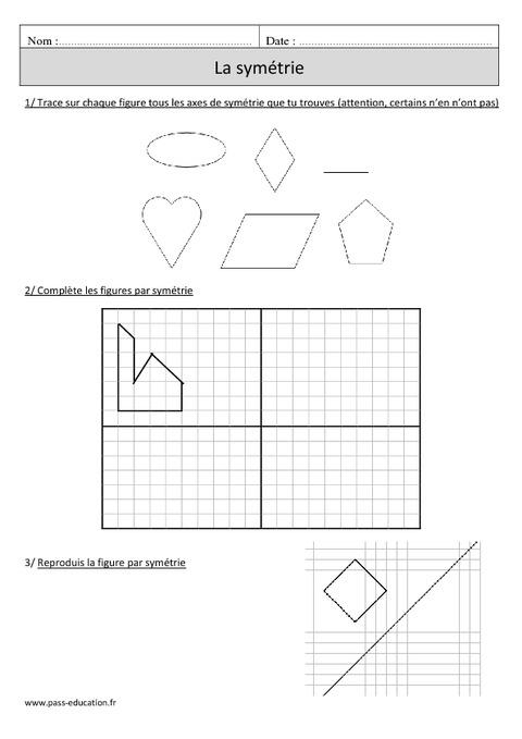 Symétrie - Cm1 - Exercices avec correction - Pass Education