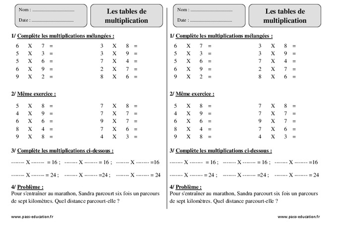 tables de multiplication ce2 exercices imprimer